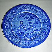 Dark Blue Staffordshire Plate ~ Pastoral Scene by Phillips, c. 1830