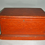 Miniature Paint Decorated Dovetailed Blanket Box w/ Original Surface & Till, c. 1840