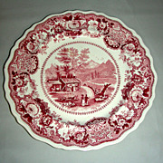 """Pink American Historical Staffordshire 9"""" Plate: View Near Conway, N. Hampshire by Adams, c. 1835"""