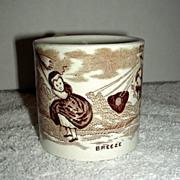 "Staffordshire Pearlware Child's Mug ""Breeze"" c. 1860"