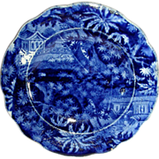 Dark Blue Staffordshire Double Transfer Cup Plate, c. 1830: Pagodas/Palm Trees, by Clews