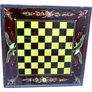 Painted American Game Board Checkerboard with Eagles and Flowers, c. 1920
