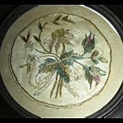 19th Century Crewel Work Needlework Watch Sampler w/ Rose Flowers & Leaves