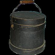 Small Dark Green Bail Handled Covered Firkin in Original Surface