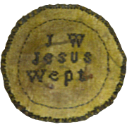 """Early 19th Century Needlework Watch Sampler with Initials """"J. W."""" and """"Jesus Wept"""""""