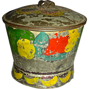 Toleware Sugar Box w/ Red, Green and Yellow Decoration, c. 1840