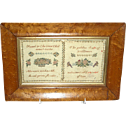 Small English Motto or Verse Sampler Dated 1842
