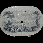 American Historical Staffordshire Drainer: Hudson City, New York, Catskill Moss Series, c. 1835-1840