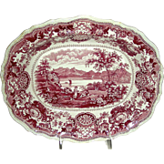 """American Historical Staffordshire Serving Dish: """"Lake George"""", Red Transfer, c. 1835"""