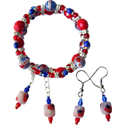 Red White and Blue Flags and Millefiori Flowers Bracelet with Matching Earrings