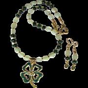 Shamrock Pendant with Swarovski Crystals on Necklace of Swarovski Crystals and Serpentine with Earrings