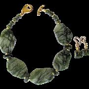 Jungle Jasper Choker with Grossular Garnet Accents and Matching Earrings