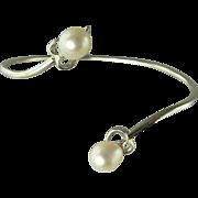 Heart Shaped Sterling & Freshwater Cultured Pearl Wrap  Bracelet.