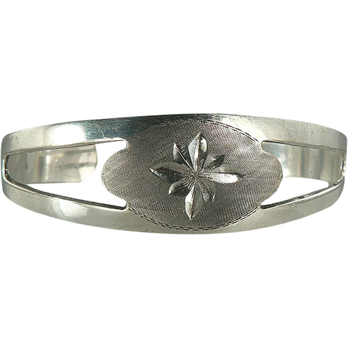 Sterling Silver Cuff Bracelet with Etched Design.