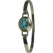 Blue Topaz and Sterling Bangle Bracelet.