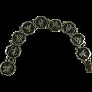 Octagon Shaped Sterling Silver Niello Theme Bracelet.