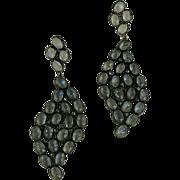 Large Chandelier Blue Moonstone and Sterling Earrings.
