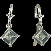 Aquamarine Earrings~14k White Gold~Pierced.