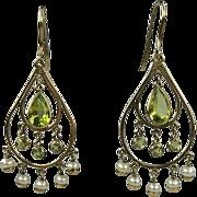 Brilliant Peridot & Seed Pearl Earrings-Early 1900's.