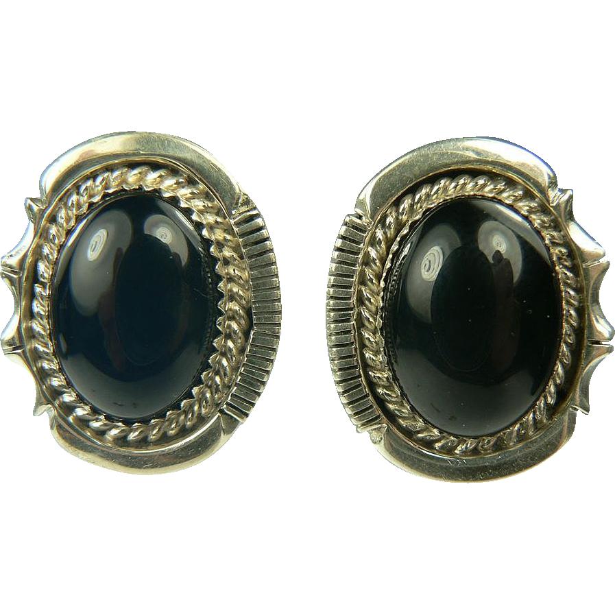 Sterling Black Onyx Earrings~Pierced.
