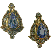 Vintage 14k Tanzanite & Diamond Gold Earrings.