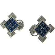 14k Blue Sapphire & Diamond Earrings.