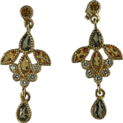 14k Citrine, Smokey Quartz & Diamond Chandelier Earrings.