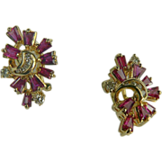 18k Natural Ruby and Diamond Earrings-Mid-Century