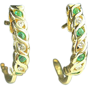 14k Natural Emerald and Diamond Hoop Earrings.