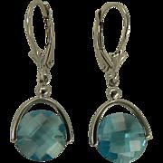 6.5 CWT Blue Topaz Earrings - 14k White Gold.