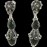 Black Onyx Drop Earrings -~Sterling ~ Pierced.
