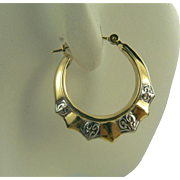 Two Tone 14k Gold Hoop Earrings.