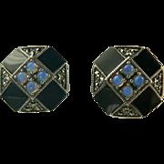 Blue Opal, Onyx, Marcasite Sterling Earrings.