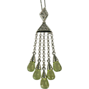 Dazzling Peridot & Diamond Necklace Crafted in 14k White Gold.