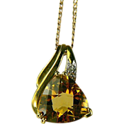 Citrine & Diamond Pendant Necklace-10k Gold.