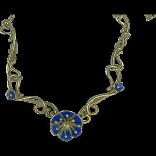 SALE Blue Enamel Floral Necklace-Sterling-British.
