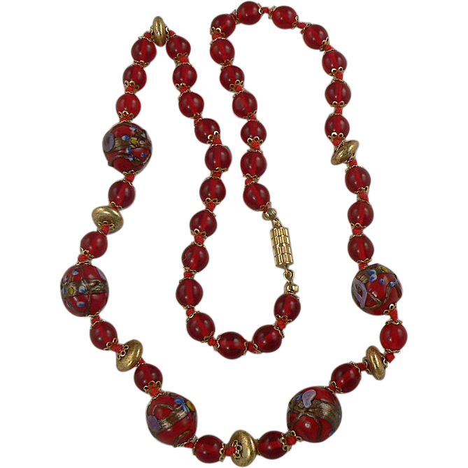 Vintage Cherry Red Wedding Cake Beaded Necklace.