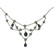 Blue Moonstone and Iolite Sterling Festoon Necklace.