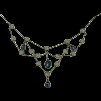 SALE Blue Moonstone and Iolite Sterling Festoon Necklace.