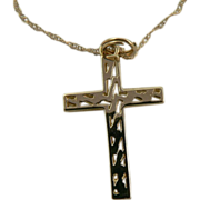 14k Gold Cross with Matching Chain