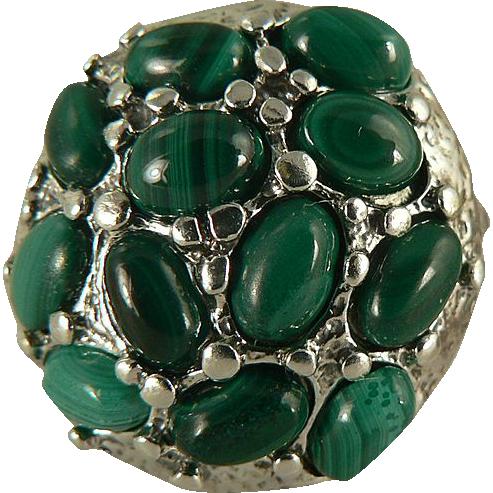 Amazing Malachite Sterling Nugget Ring, Size 7.