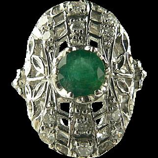SALE Art Deco Emerald and Diamond Ring - 18k-Size 6 3/4.