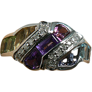 SALE Amethyst, Citrine, Peridot, Iolite & Diamond Ring, 14k,Size 6 1/2.