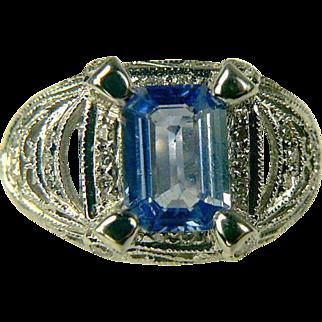SALE 18k Ceylon Sapphire & Diamond Ring-Size 6 1/2.