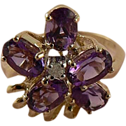 Amethyst  Ring - 10k Yellow Gold, Size 6.25