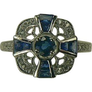 SALE Genuine Blue Sapphire and Diamond Ring-14k-Size 7.