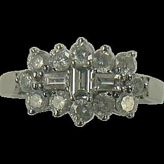 SALE 18k White Gold Mid-Century Diamond Ring-Size 7 3/4.