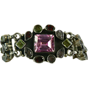 Hand Wrought Sterling Gemstone Bracelet.