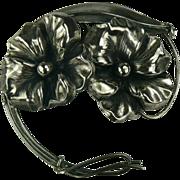 Genuine Art Nouveau Floral Sterling Brooch.