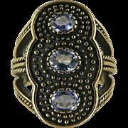 Heavy, Large Tanzanite Ring~9k~Size 7.